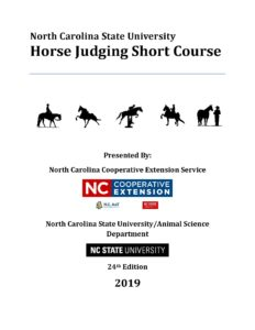 Cover photo for NCSU Horse Judging Manual Sales