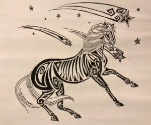 black and white drawing of horse with shooting stars