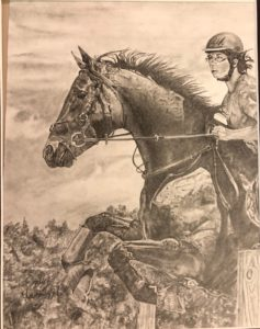drawing of rider on jumping horse