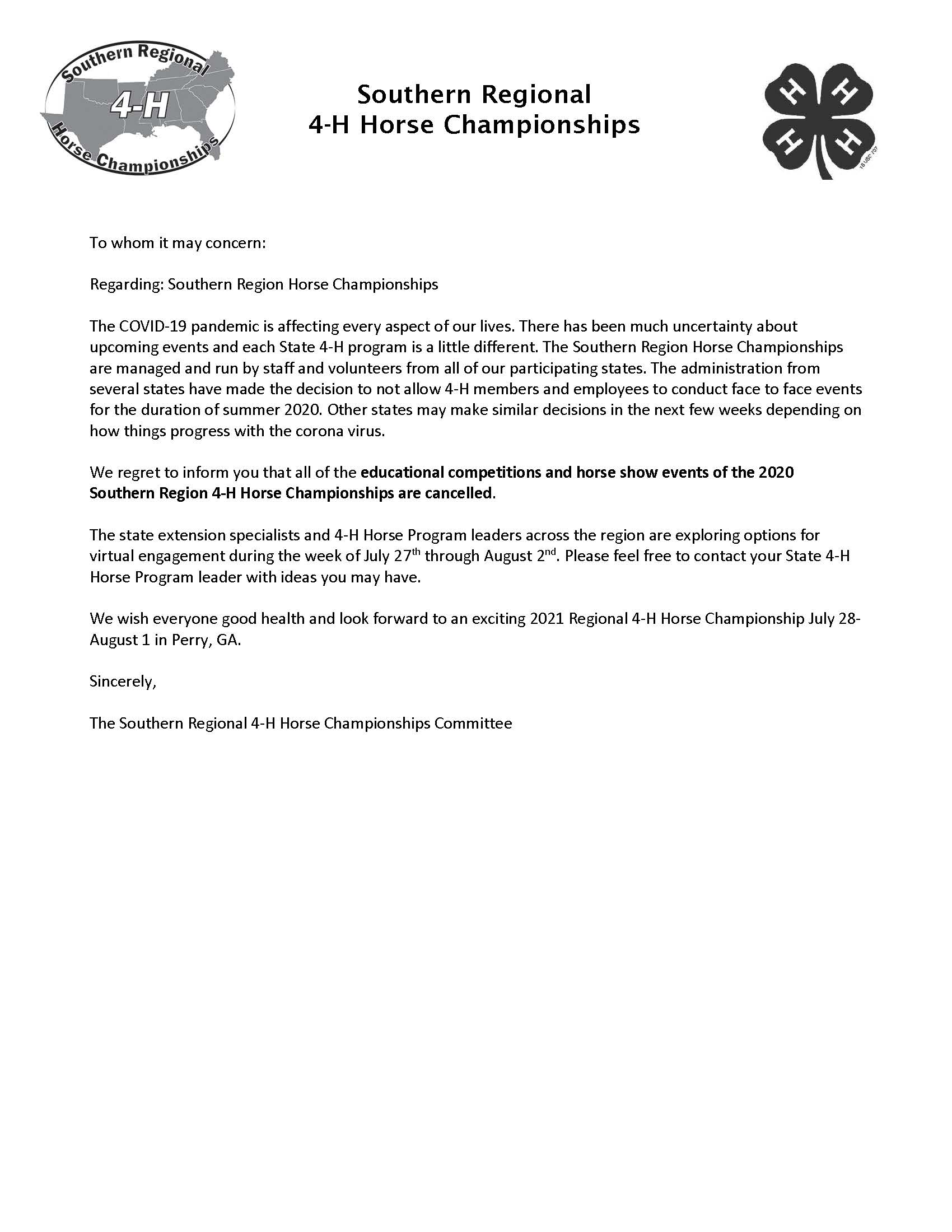 4-H Horse Championships press release