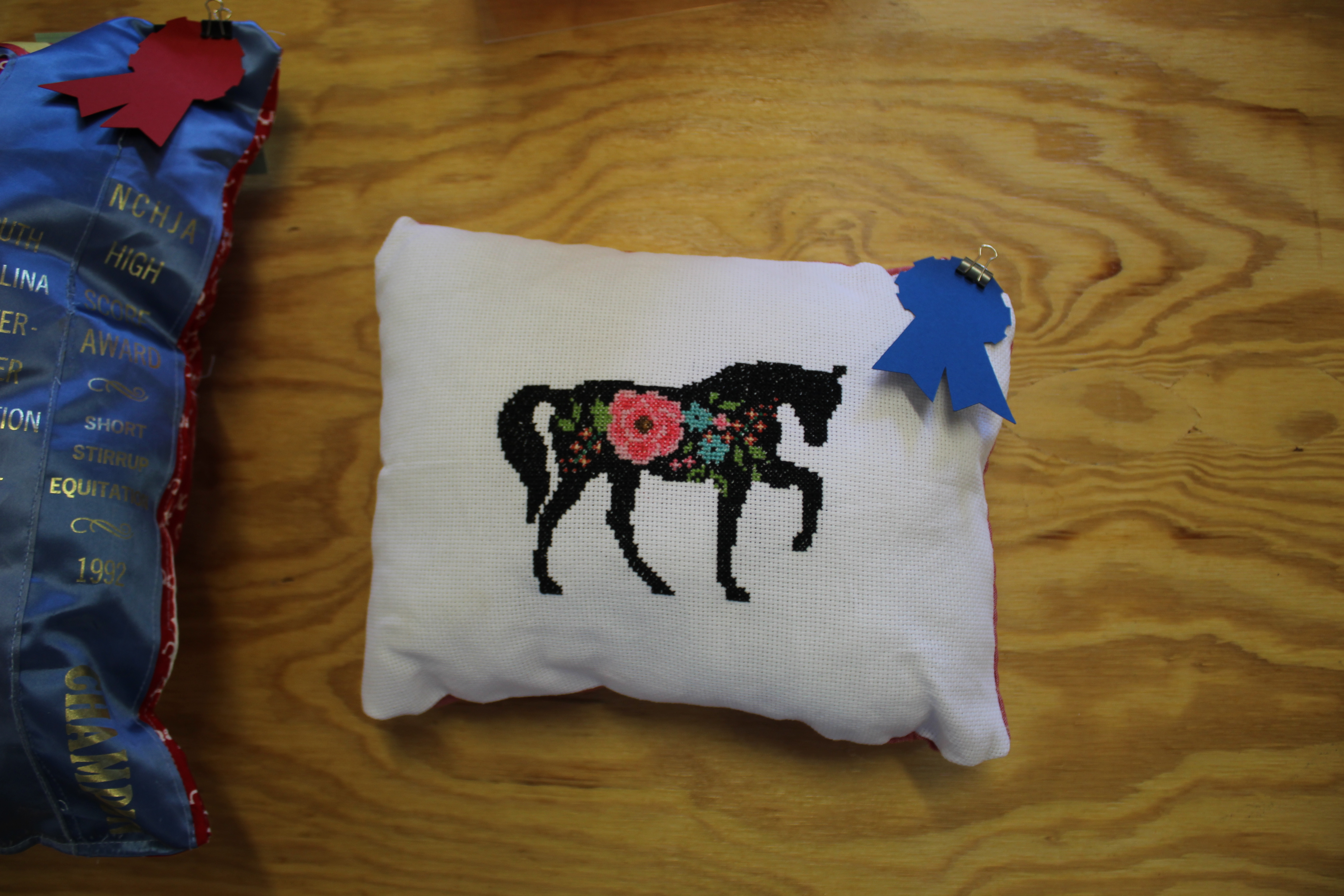 Stitched horse on a pillow